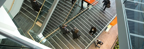 aerial shot of people on staircase