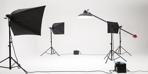 lights in a photography studio
