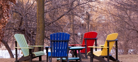 a group of bright colourful outdoor chairs amongst trees during the autumn