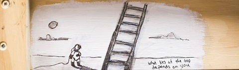 illustration of a person and ladder that says what lies at the top depends on you